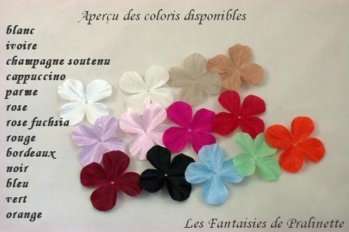 Nuancier fleurs en soie 4 pétales bijoux mariage
