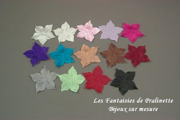 Nuancier fleurs en soie 5 pétales bijoux mariage