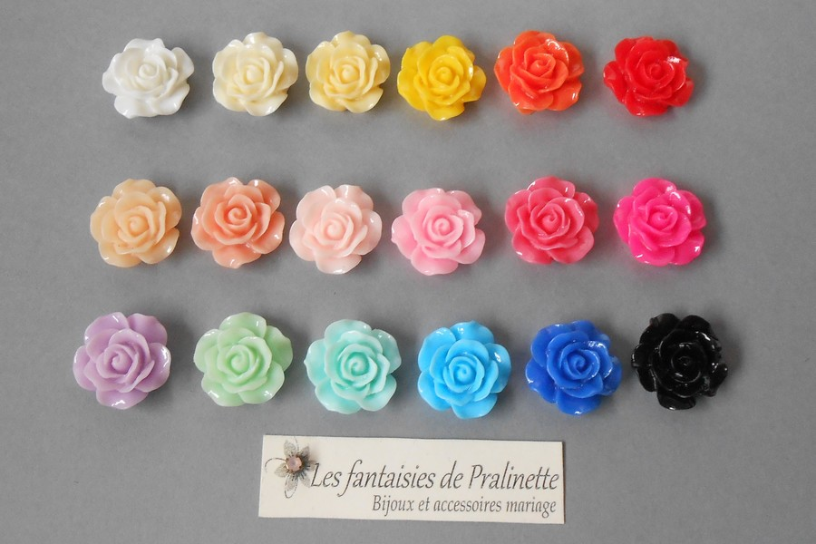 Nuancier fleurs de roses en résine bijoux mariage personnalisés