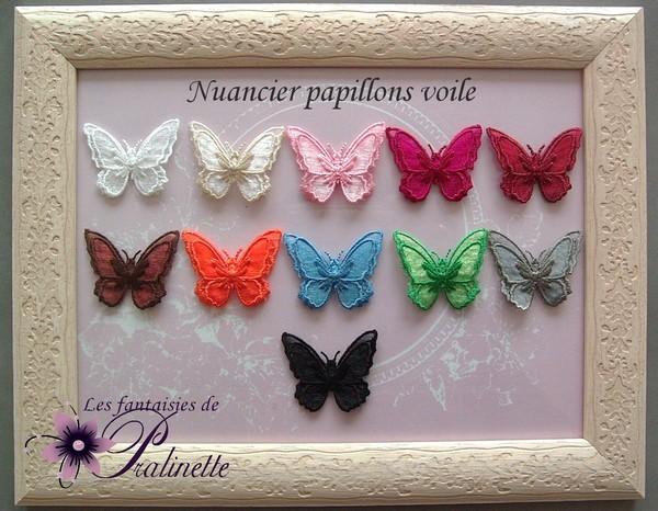 Nuancier papillon en voile bijoux mariage personnalisés