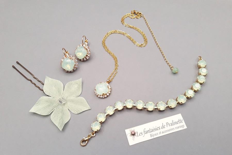 Bijoux mariage parure mariées en cristal vert d'eau opal