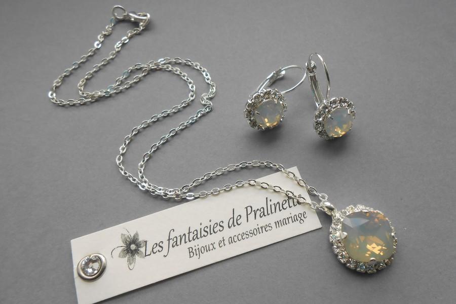 Collier de mariage Byzance et boucles d'oreilles assorties, cristaux gris opal.