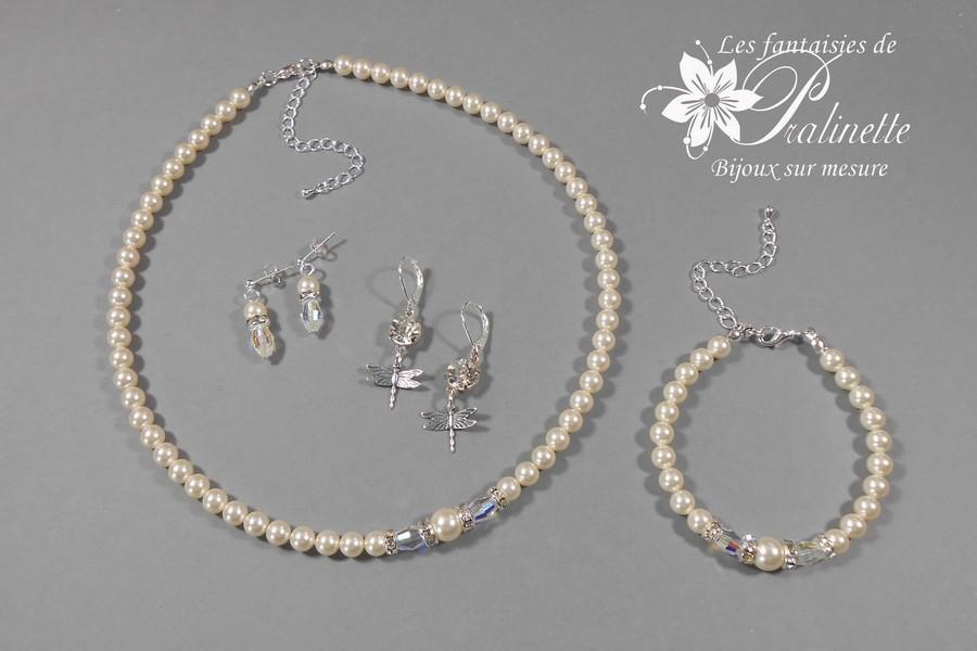 Parure bijoux mariage perles ivoire