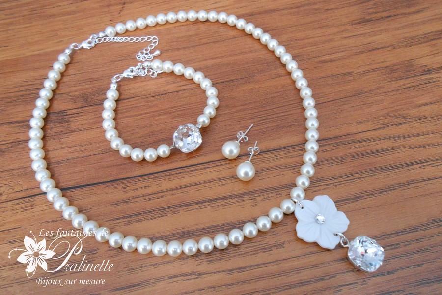 Bijoux mariage vintage perles en cristal nacré et fleur en nacre.