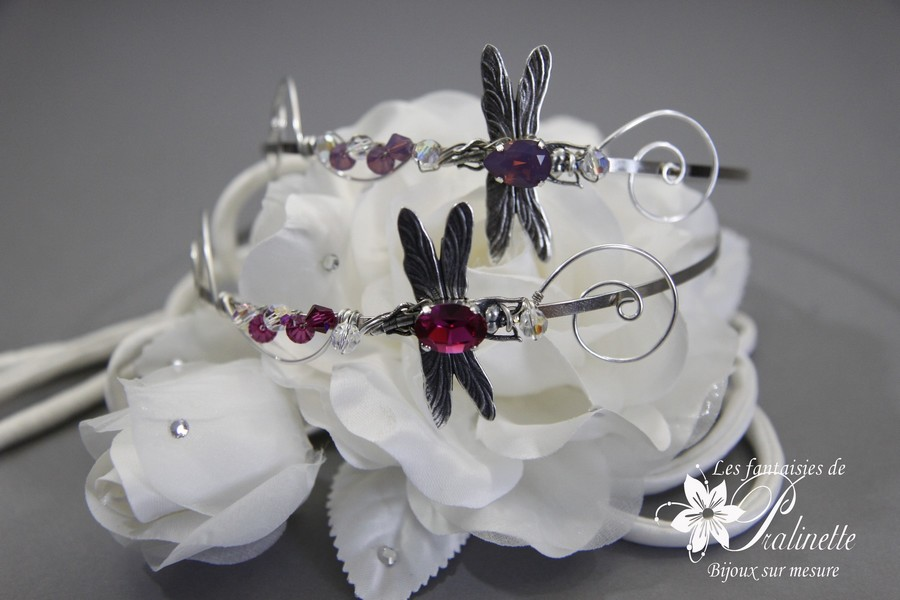 Serre-tête headbands libellules Lula violet et fuchsia