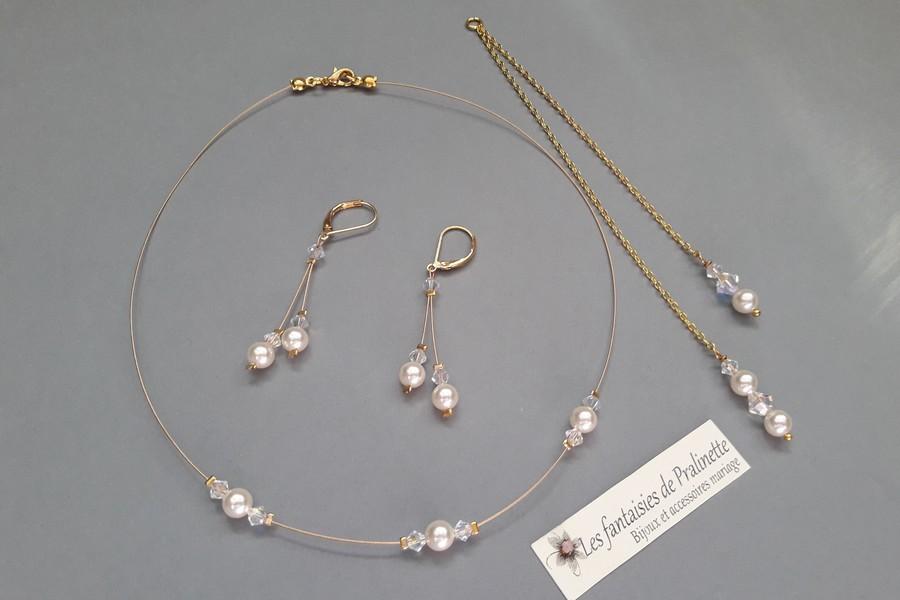 Parure mariage minimaliste avec un bijou de dos 2 pendants.
