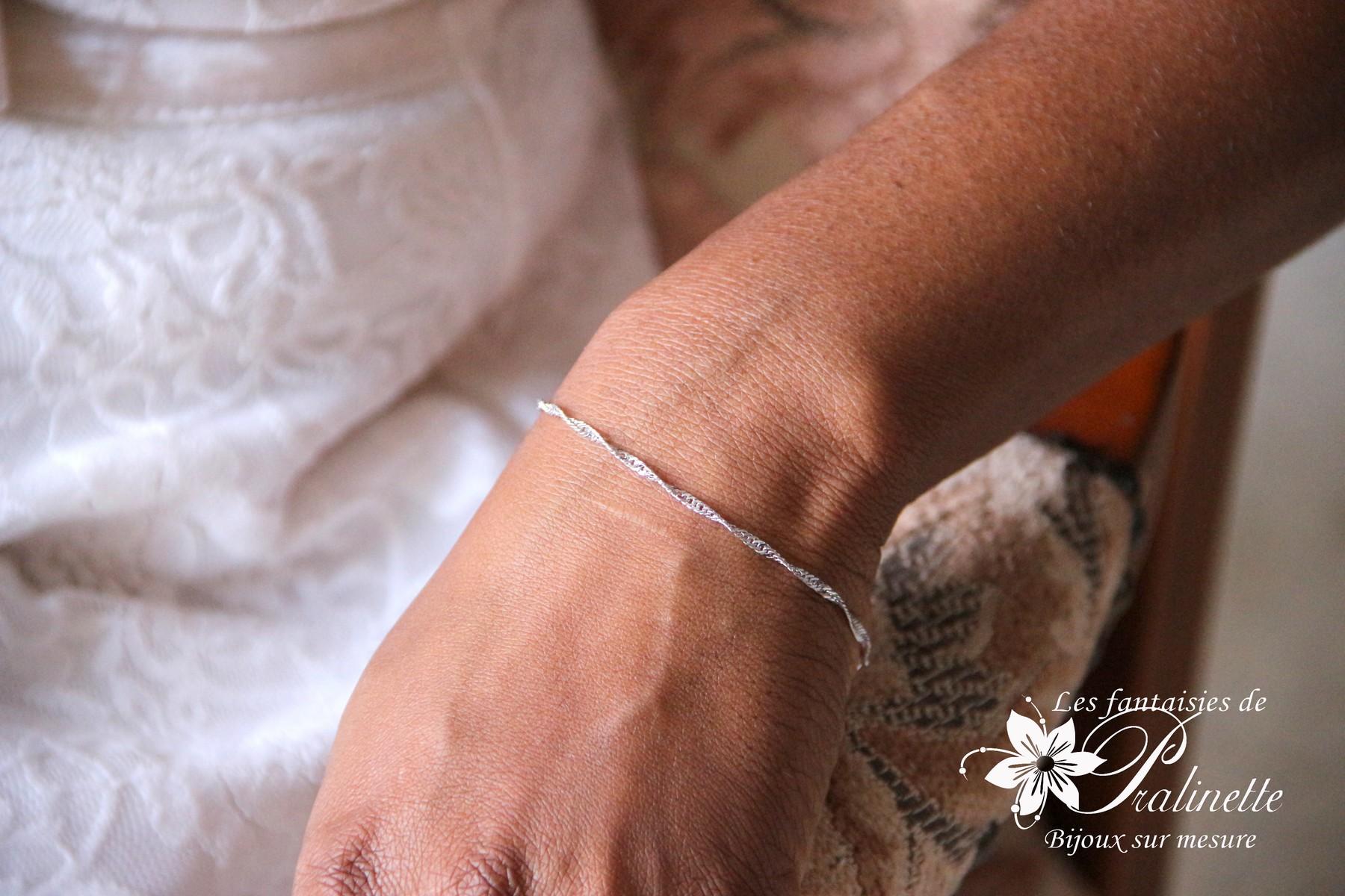 Bracelet mariage minimaliste maille Singapour