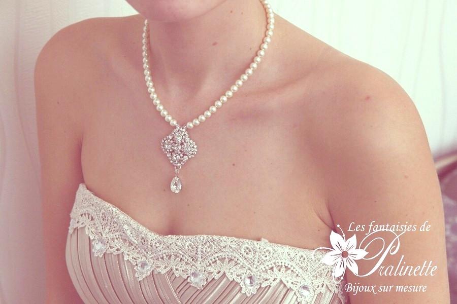 Collier de mariage rétro vintage en perles et strass Madélia