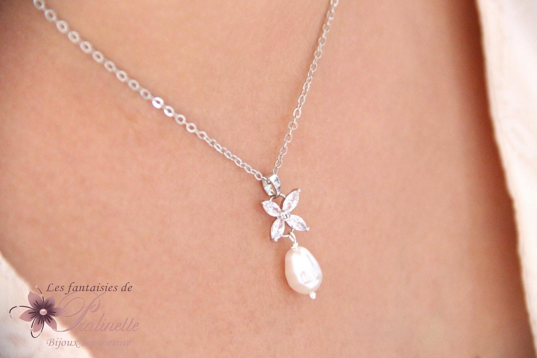 Collier de mariage goutte perle et zirconium