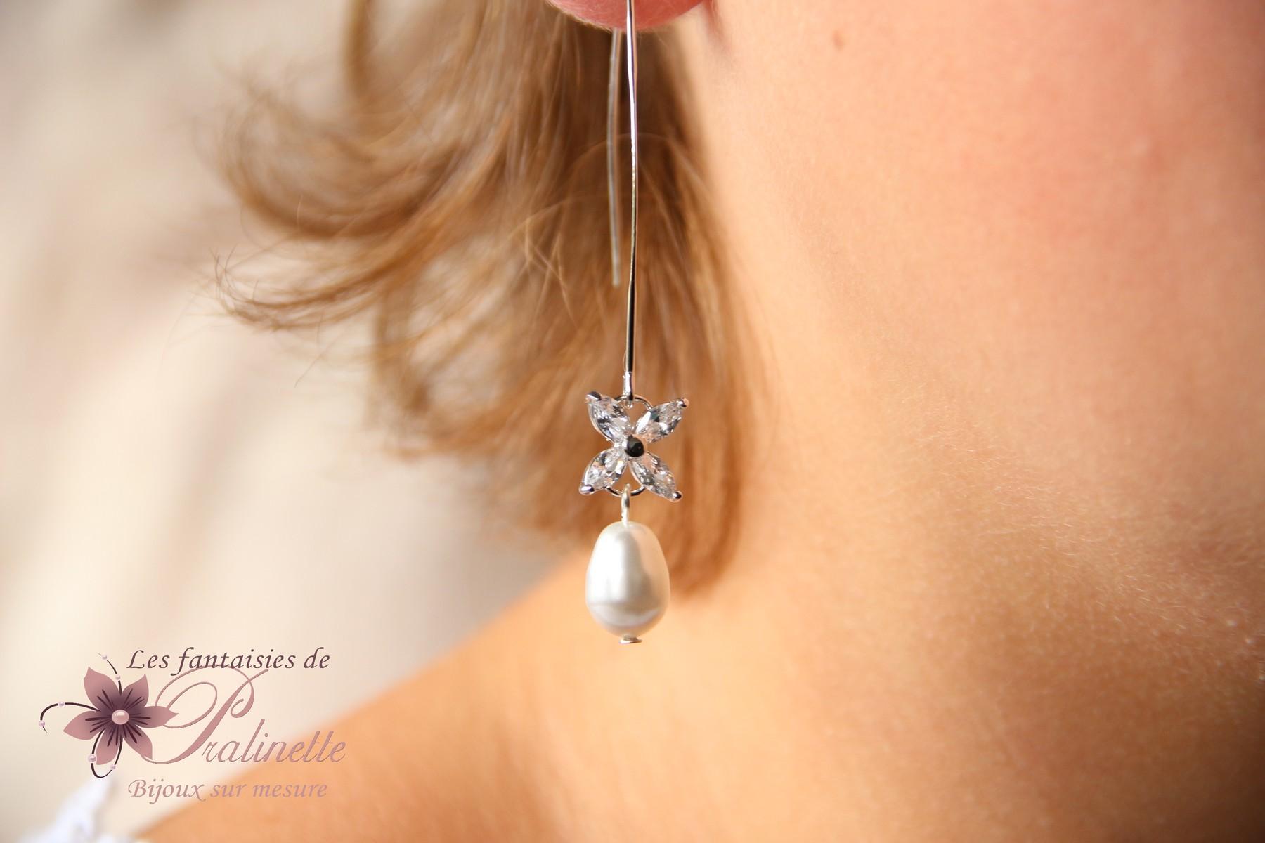 Longues boucles d'oreilles mariage traversantes en cristal et zirconium