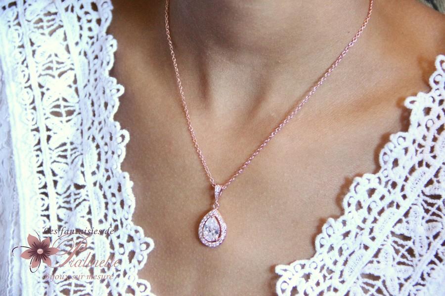 Collier de mariage rose gold style vintage