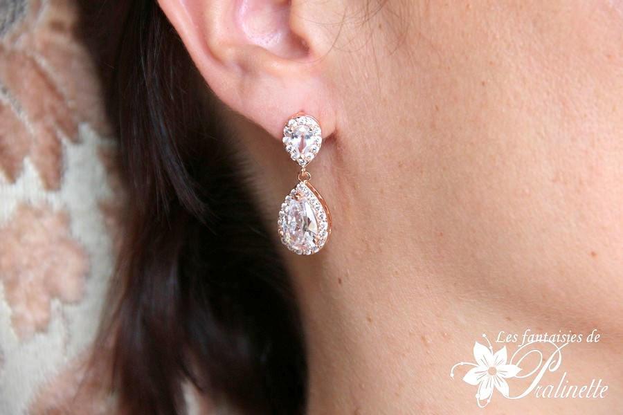 Boucles d'oreilles mariage rose gold zircons zirconiums