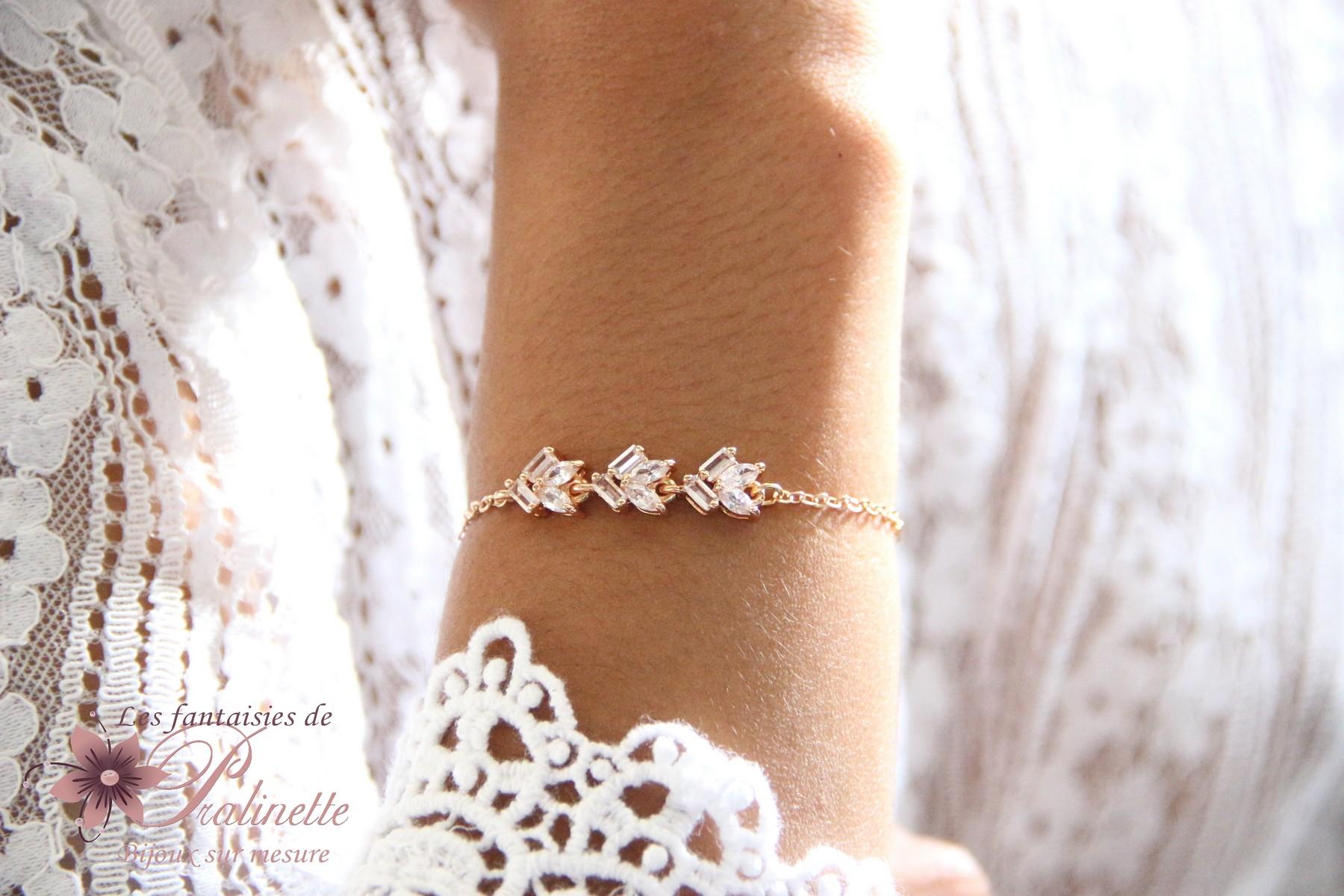 Bracelet intemporel mariage trio de zirconiums, témoins mariage demoiselles d'honneur