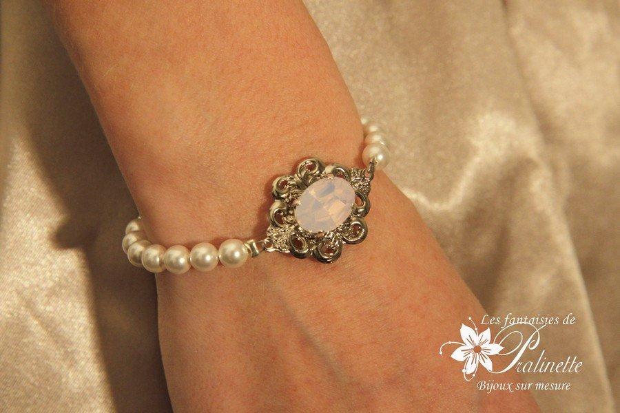 Bracelet mariage rétro vintage perles et cabochon en cristal