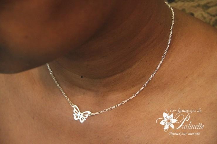 Collier de mariage intemporel papillon en argent