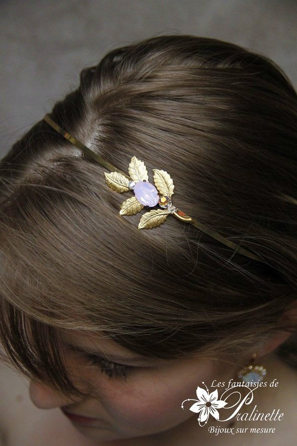 Serre-tête mariage headband feuilles et cabochon en cristal
