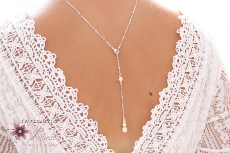 Collier de mariage avec bijou de dos