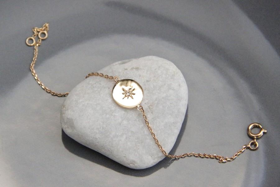 Bracelet plaqué or étoile du nord et zirconium