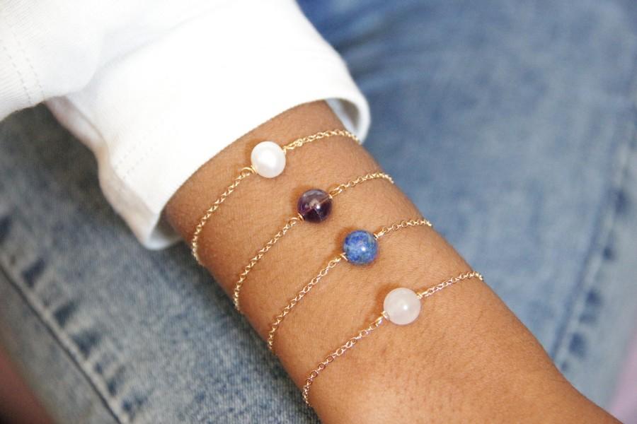 Bracelets minimalistes perles solitaires pierres fines