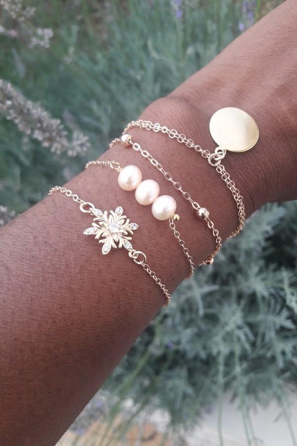 Bracelets plaqué or perles et zirconiums