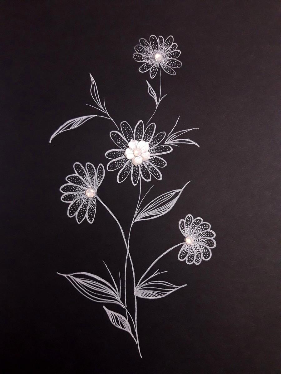 Dessin encre blanche papier noir