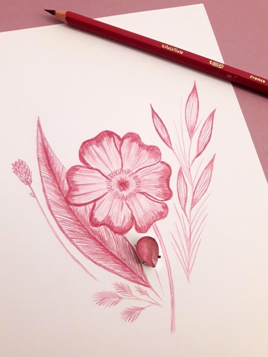 Dessin couleur cerise au crayon de couleur