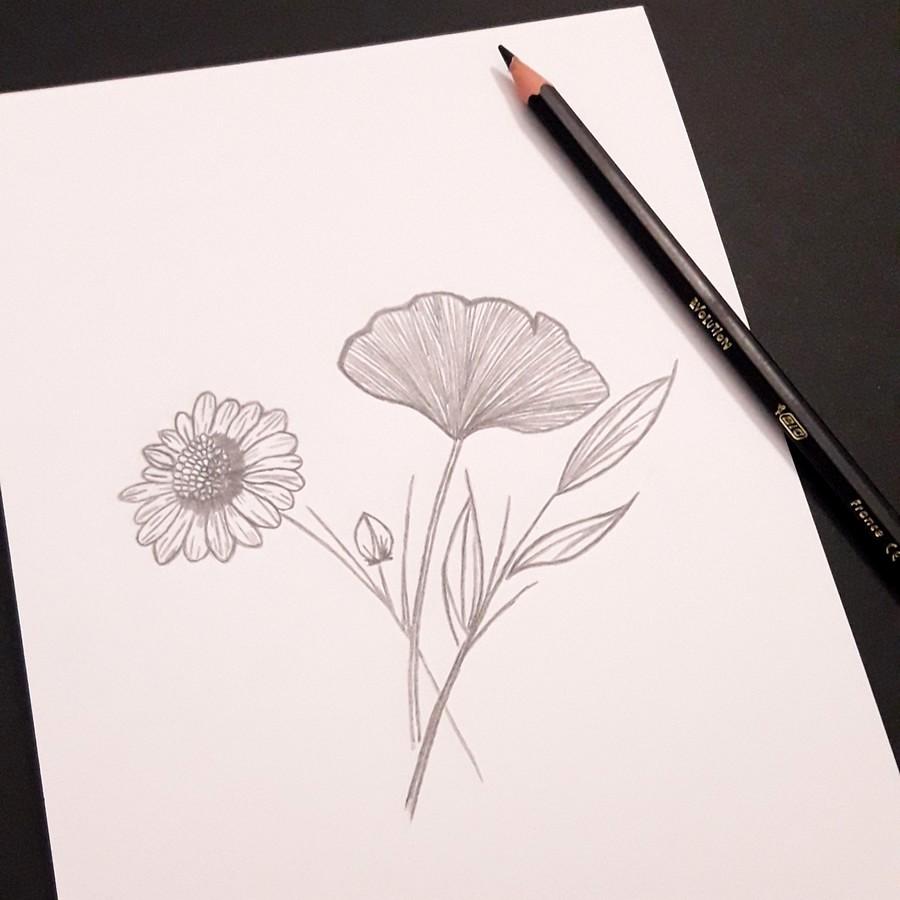 Dessin noir crayon de couleur
