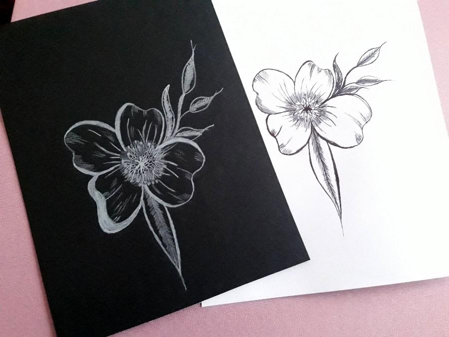 Dessin fleur noir vs blanc