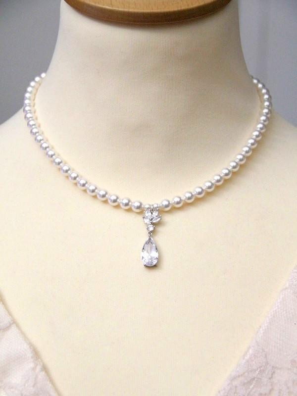 Bijou mariage collier vintage rétro pendentif goutte zirconium