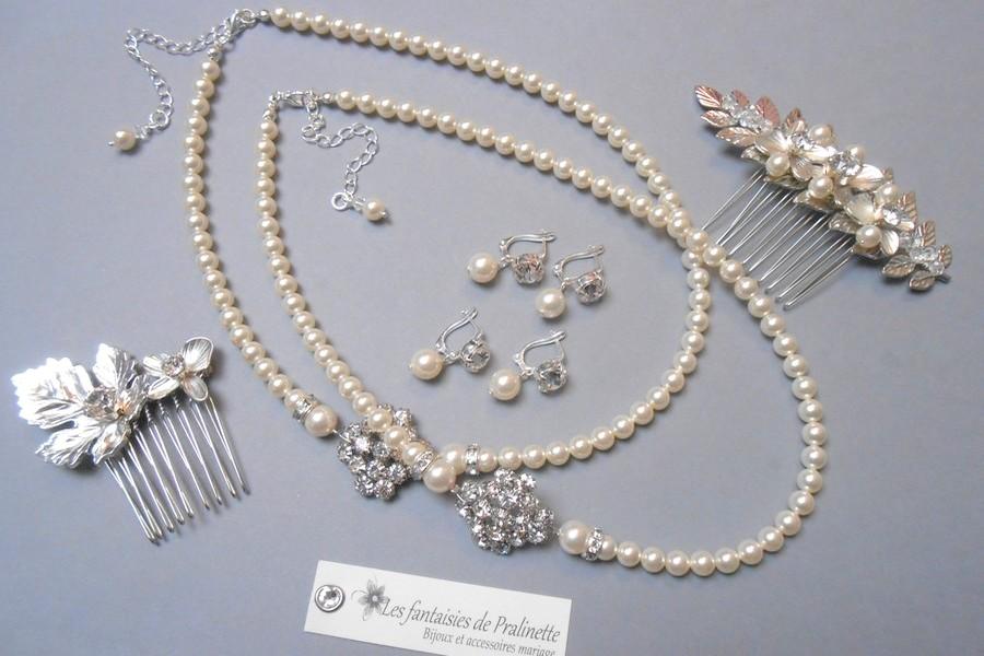 Bijoux mariage rétro vintage cristal et strass