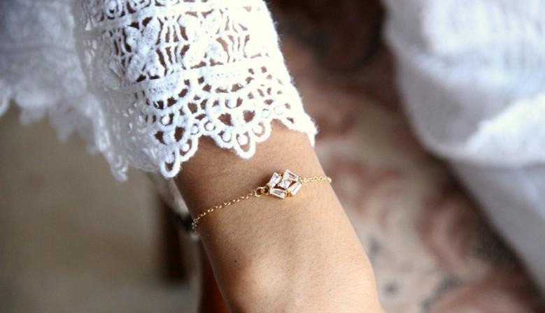 Bracelet mariage sur fine chaîne en strass zirconium