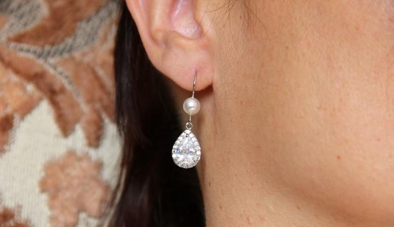 Boucles d'oreilles mariage zircon et perles en cristal nacré