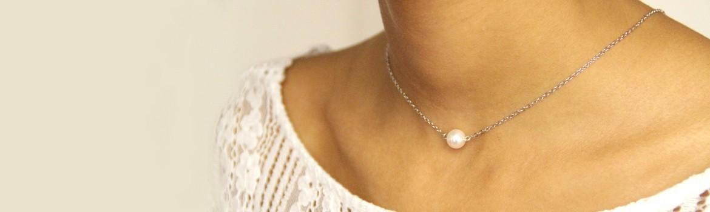 Collier de mariage en perles de cristal nacré ou perles de nacre