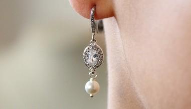 Boucles d'oreilles mariage strass zirconium et perles en cristal