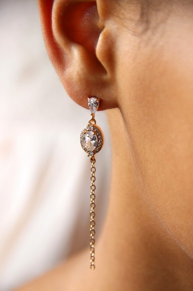 Longues boucles d'oreilles mariage bohème chic en zirconium et chaîne