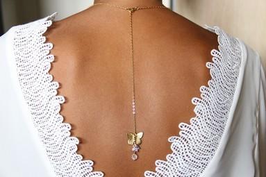 Bijoux mariage de dos chaîne et strass